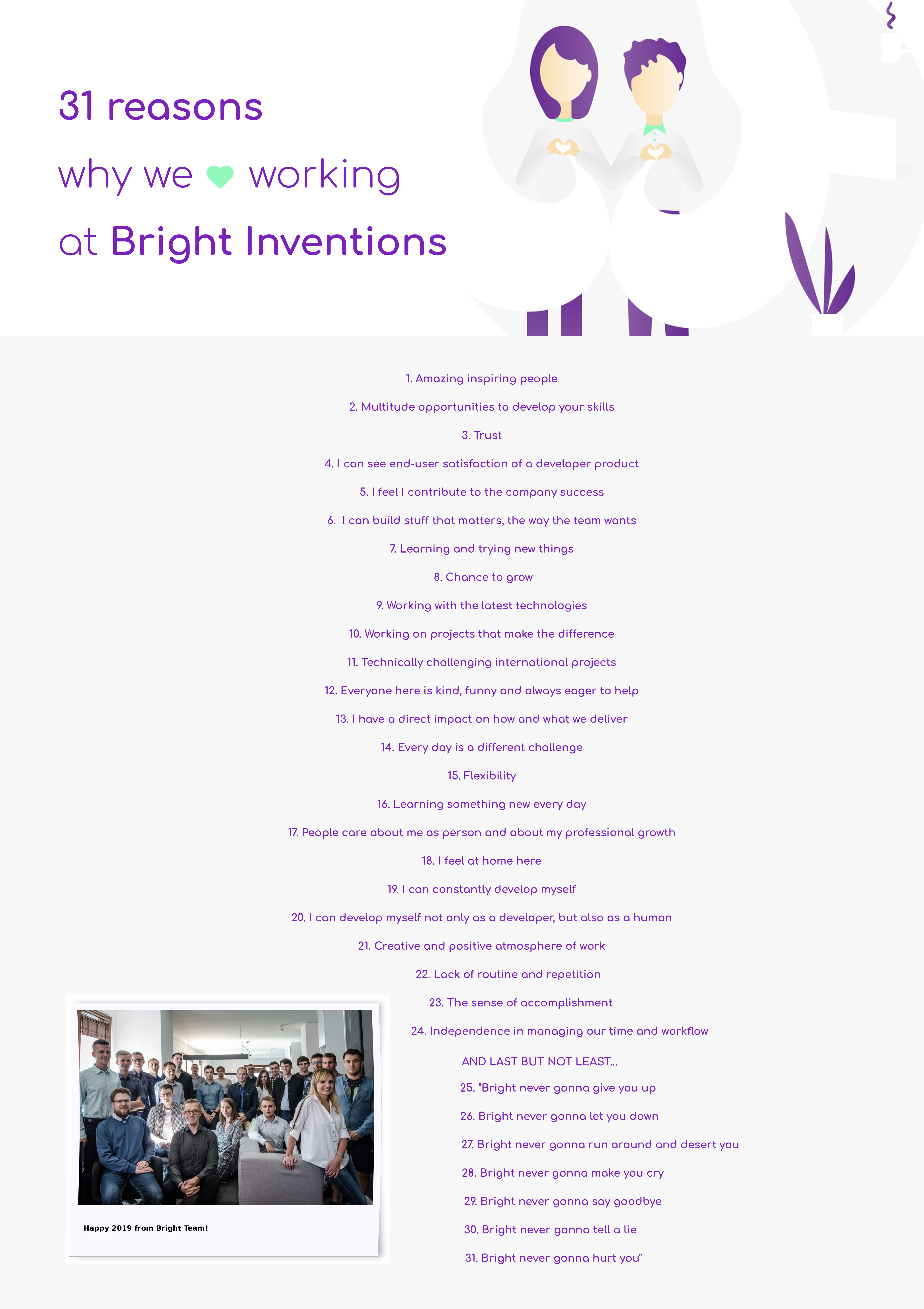 31 reasons why we love working at Bright Inventions