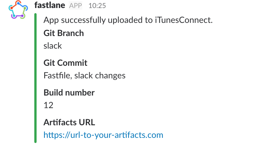 Slack message with custom fields