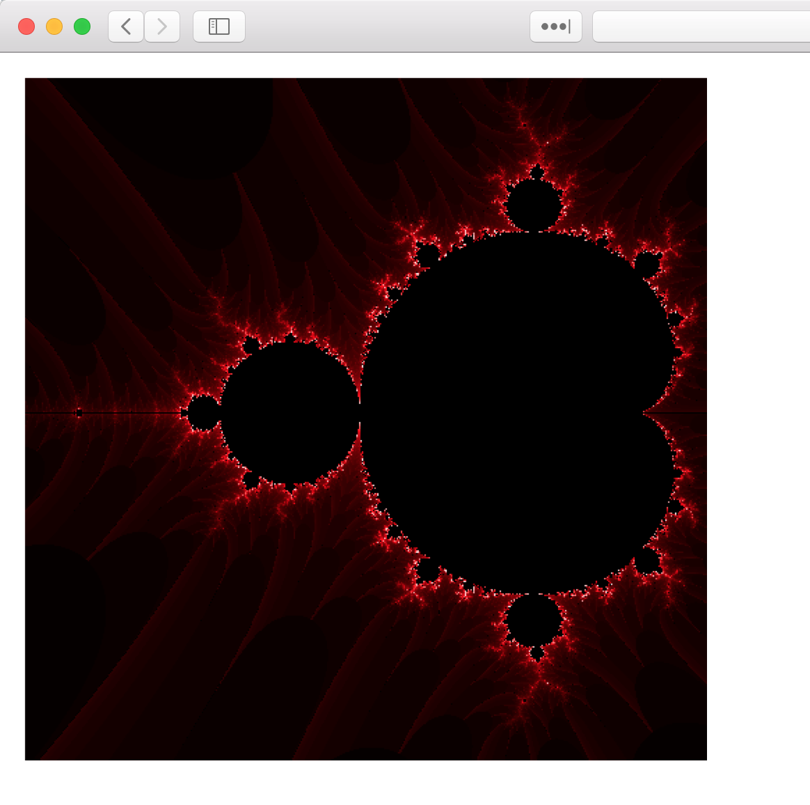 Mandelbrot set fractal draws on the canvas